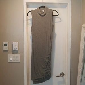 Halogen Fitted Grey Midi Dress